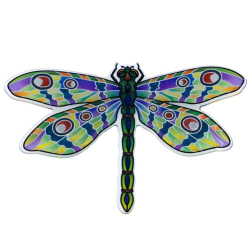 """Clear Green Dragonfly Hand Painted Magnet By AMIA Studios 4"""" x 2.75"""" New"""
