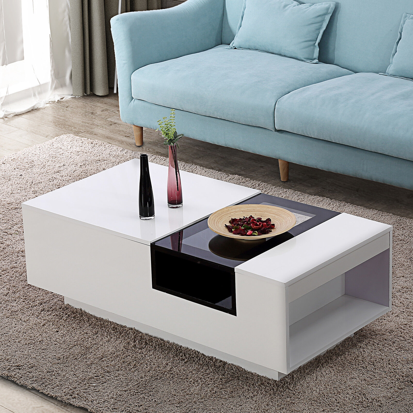 High gloss white and black glass two tone coffee table center with side storage