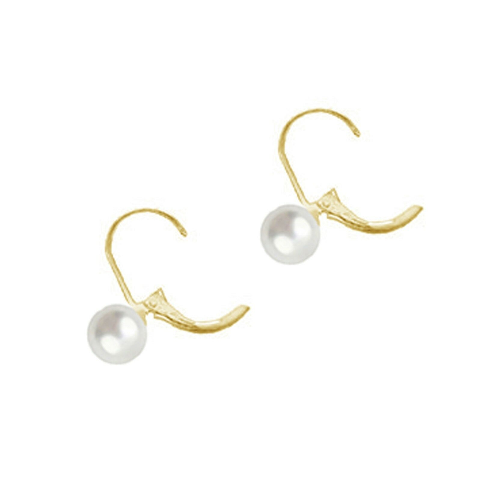 14K Gold Fresh Water Cultured Pearl Lever Back Earrings 5mm