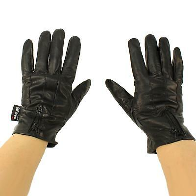 Mens Winter 3M Thinsulate Lined Soft Genuine Leather Zipper Wrist Gloves Black