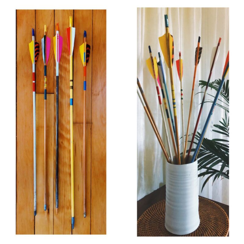 Five (5) Vintage Mixed Wooden Arrows Lot