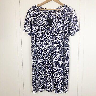 Anthropologie Velvet Brand Purple Paisley Size Large Shift Dress Silk Lining