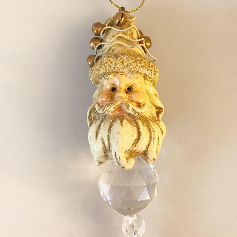 Vintage Ganz Hanging Santa Head With Faceted Acrylic Crystals