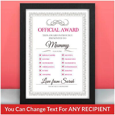 BEST MUMMY AWARD Personalised Birthday Christmas Gifts for Mummy Mum Nanny