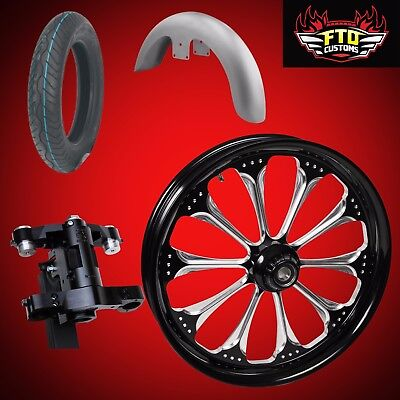 "Harley 30 inch Front End Big Wheel kit, Wheel, Tire, Neck, Fender, "" Wizard"""
