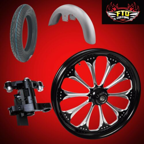 "Harley 30 Inch Front End Big Wheel Kit, Wheel, Tire, Neck, Fender, "" Wizard"""