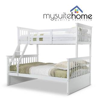 SYD Emma Timber Kids Single on Double Bunk Bed White