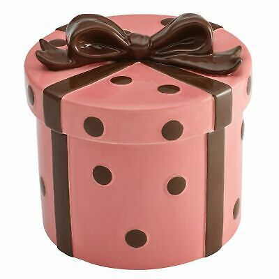 Pink Cookie Jar (CAKE BOSS Cookie Jar Ceramic  Pink & Chocolate Polka Dot Ribbon & Bow NEW in Box)