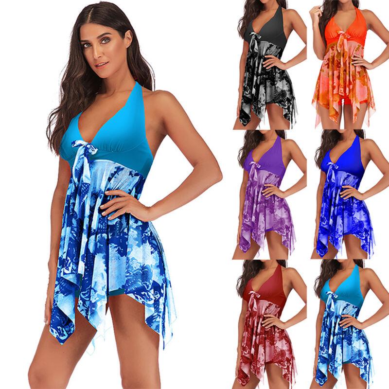Übergröße Damen Badekleid Bademode Badeanzug Bikini Tankini Set Beachwear Sommer