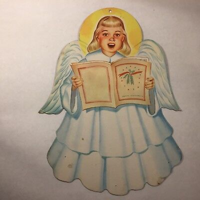 Vtg 50`s Christmas ANGEL w SONG BOOK Caroler Diecut Decoration 11.5