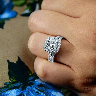 4.40 Ct Cushion Cut Halo Round Diamond Platinum Engagement Ring Set H,VS1 GIA