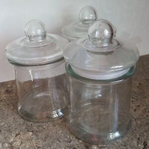 Set of 3 matching glass jars with tight fitting lids