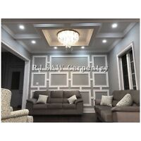 CROWN MOULDING COFFERED WAFFLE CEILING WAINSCOTING TRIMWORK