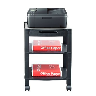 Mind Reader 3-Shelf Printer Cart, Stand with Wheels, Drawer, Cord Management,