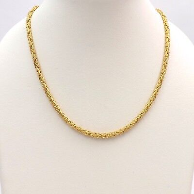 14k Turkish Rope Chain (New 14k Gold Italy 2.1mm Square Byzantine Turkish Rope Link Chain Necklace 18