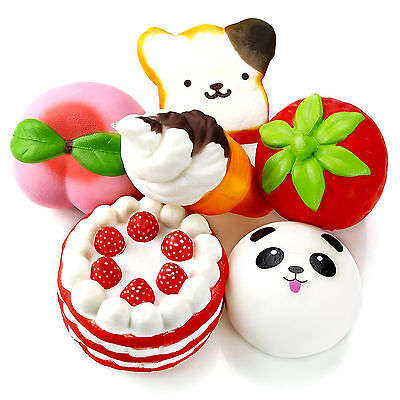 6Pc Squishy Slow Rising Jumbo Strawberry Peach Panda Cake Ice Cream Squishies