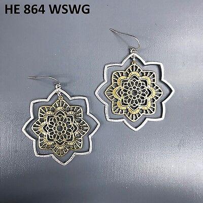 (Simple Boho Silver Finish 2 Tone Colored Petal Flower Drop Dangle Hook Earrings)