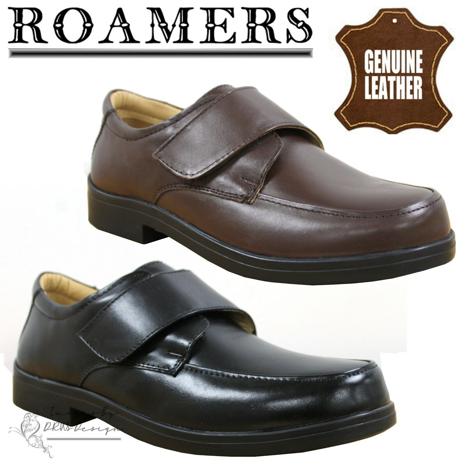 Mens Brown waxy Trainers Touch Fastening Sports Leisure Casual Comfort Shoes