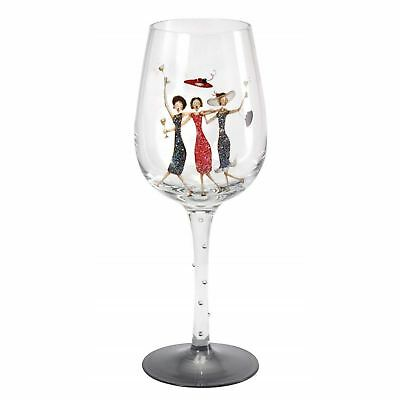 Here's To You Happy Birthday Decorated Womens Glitter Wine Glass Gift Box Idea](Wine Glass Decorating Ideas)
