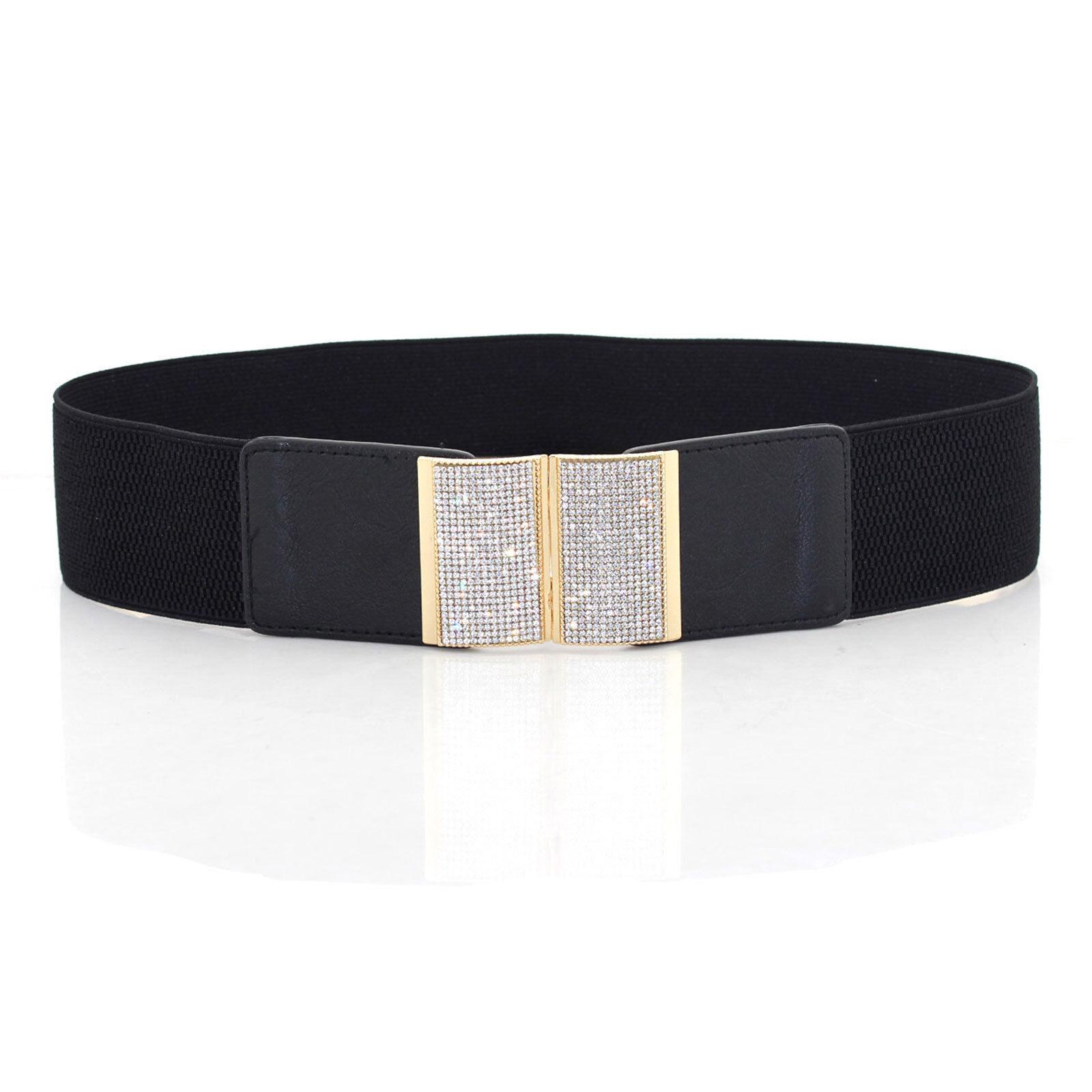 Da Donna Elasticizzato Elastico Vita Cintura Diamante Fibbia per Moda 65