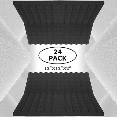"24 Pack Acoustic Foam Panels Pyramid 2""X12""X12"" Studio Soundproofing Wall Tiles"
