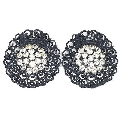 Vintage Black Enamel Clear Rhinestone Shoe Clips on Metal Filigree Curly Cues for sale  Shipping to India