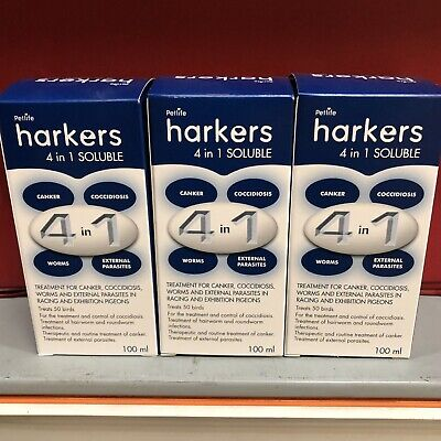 3 x Harkers 4 in 1 Pigeon Internal External Parasites Coccidiois Canker Worms