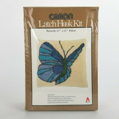 Vintage Butterfly Latch Hook Kit Pillow Caron 27in x 27in Blue Yarn NOS Sealed