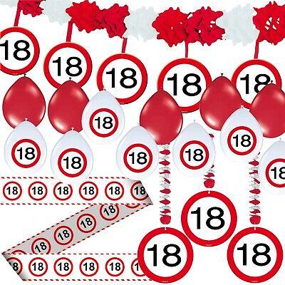 18. GEBURTSTAG DEKO SET - 71 TEILE - Verkehrsschild Party Dekoration Ballons XXL