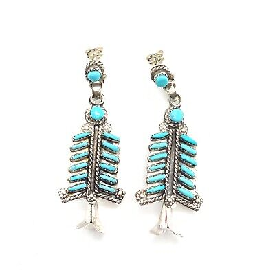 Zuni Handmade Sterling Silver Turquoise Post Earrings - Terry Loncasion ()
