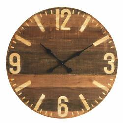 Creative Co-Op 29 Round Laser Cut Wood Large Oversized Wall Clock, Brown