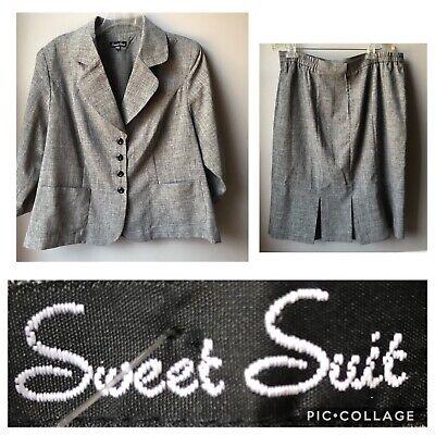 Sweet Suit Gray lightweight Suit Jacket & skirt Size 16W