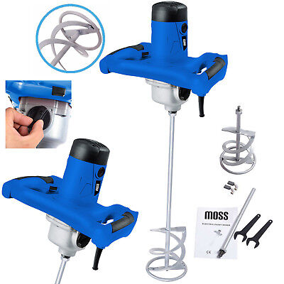 New 1600w Moss Electric Plaster Paint Cement Mortar Paddle Mixer Variable Speed