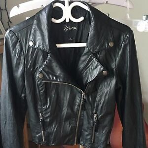 Women's Guess faux leather cropped motorcycle jacket