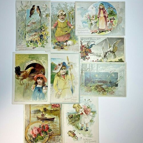 Lot of 9 Antique Victorian 1890s Lion Coffee Trade Cards 6 Easter & 3 Midsummer