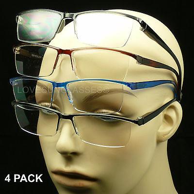 Reading glasses 4 pack rimless lens spring hinge power lot men women