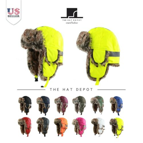 Trapper Hat - The Hat Depot  All Size Trooper Hat with Safety Reflective Aviator
