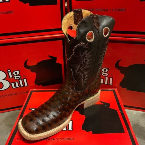 MENS, BIG, BULL, OSTRICH, QUILL, BROWN, WESTERN, RODEO, EXOTIC, COWBOY, CLEARANCE, LAST,