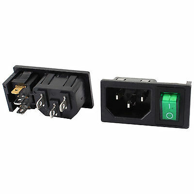 Green Lamp Panel Mount Rocker Switch Iec320 C14 Power Socket Ac 10a 250v 2 Pcs