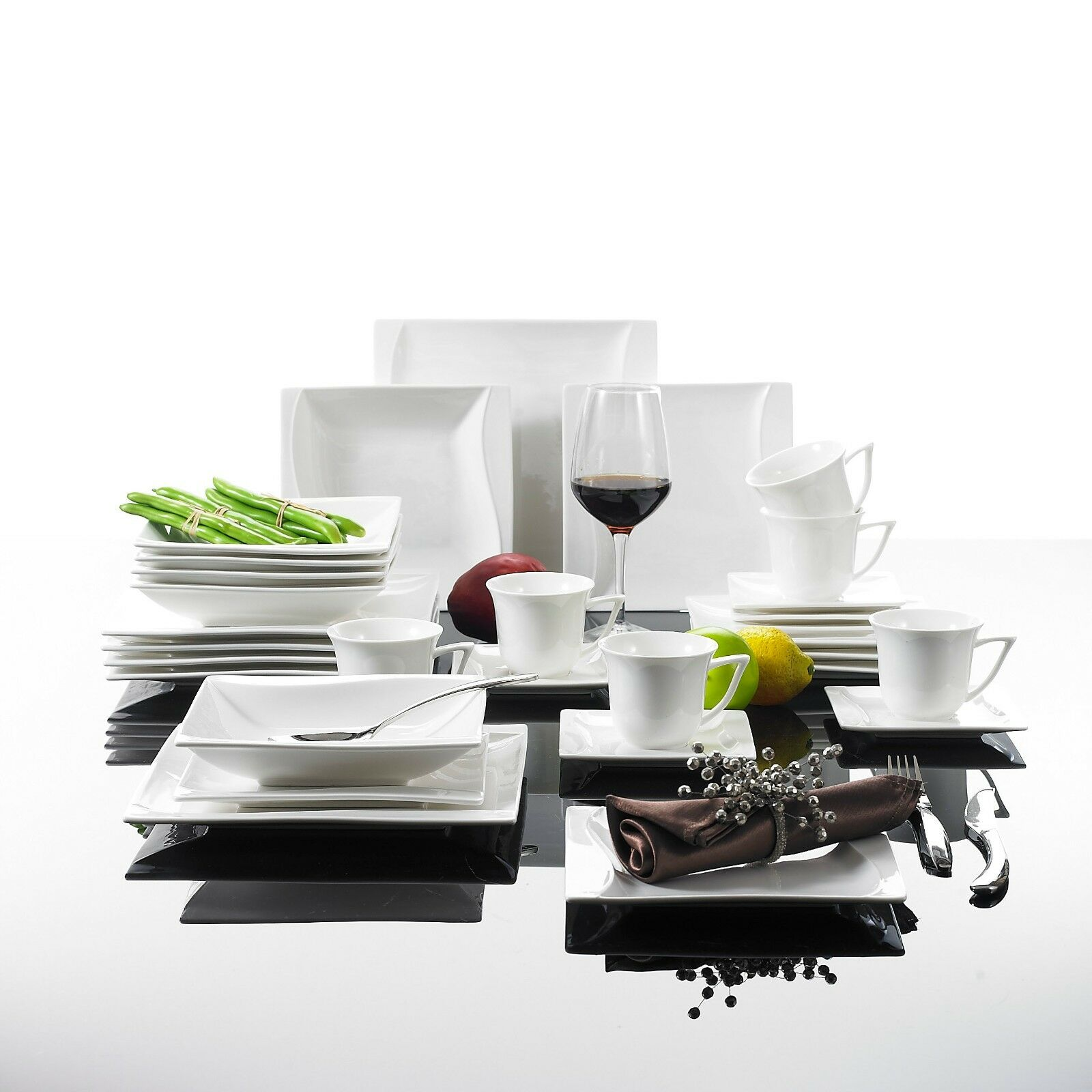 Malacasa carina 30x porcelain ceramic dinner set home for Kitchen set plates