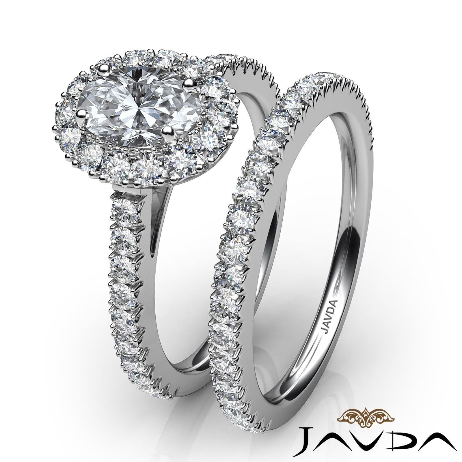 2.21ctw Halo Bridal French Pave Oval Diamond Engagement Ring GIA F-VVS2 W Gold 3