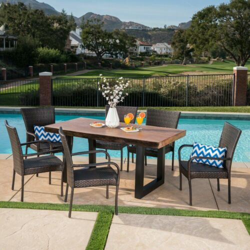 Fern Outdoor 7 Piece Stacking Multi-brown Wicker and Concrete Dining Set Home & Garden