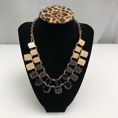 Natasha Necklace Gold Tone Ivory, Black & Green faceted acrylic stones 2 strands