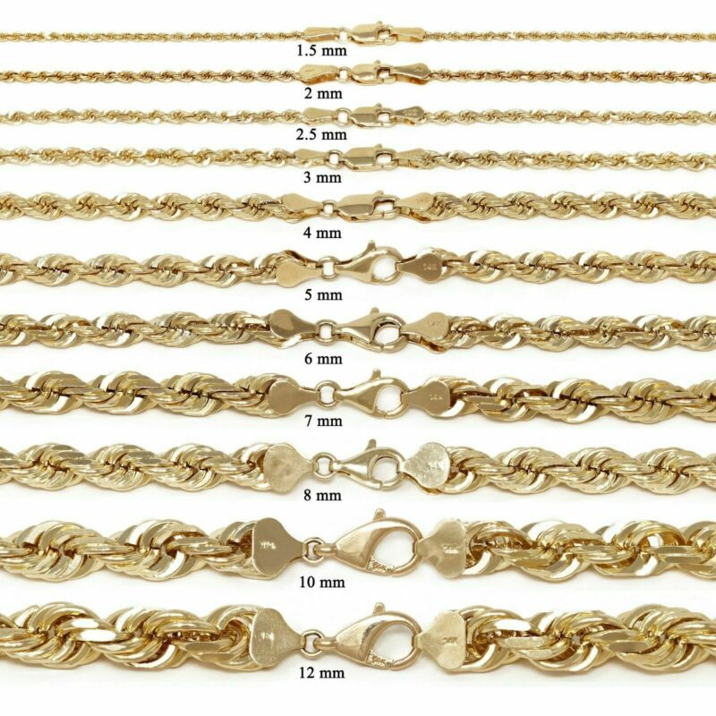 """14k Yellow Gold Solid Diamond Cut Rope Chain Necklace 16""""-30"""" 1.5mm to 12mm"""