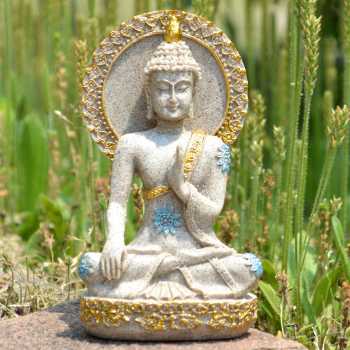 Thai Buddha Statue Home Decoration Resin Sandstone Yoga Meditation ZEN Sculpture