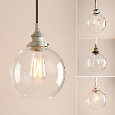 Vintage Industrial Clear Glass LampShade Ceiling Pendant Lighting Copper Holder