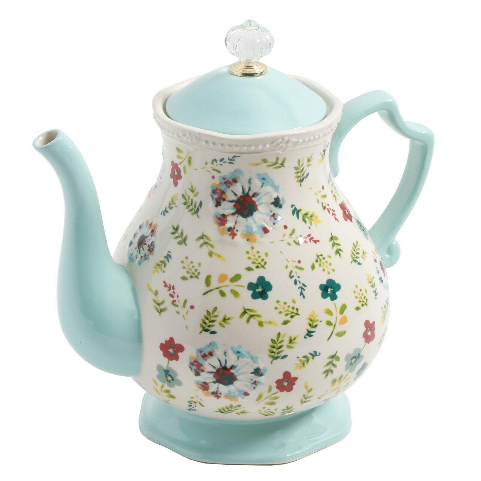 THE PIONEER WOMAN Tea Kettle Teapot - Kari Teal Mint Green F