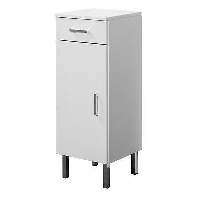Mobiletto da bagno 1 anta e 1 cassetto 32x85x34 cm bianco lucido