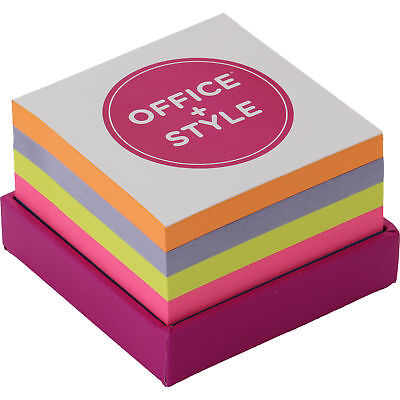 Office Style Sticky Note Pad Block With Holder Multi 3.25x3.25