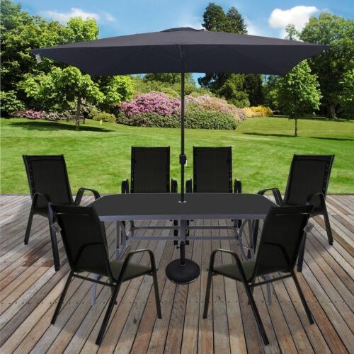Garden Furniture - Table & Chairs Set Outdoor Garden Patio Black Furniture Glass Table Parasol Base